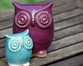 handmade Ceramic owl and owlet - mom and child in purple and robins egg