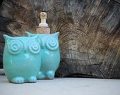 RESERVED LISTING ceramic owl soap dispenser and tooth brush caddy in mint made to order