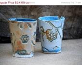 Thanksgiving sale - handmade ceramic juice  tumblers - set of two