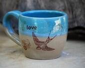 coffee mug LOVE  in robins egg