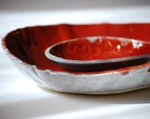SAME DAY SHIPPING red and gray bowls Ceramic serving