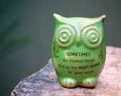 Owl  decor with Winnie the pooh quote in spring green