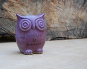 "ceramic OWL"" always and forever"" rustic eggplant purple"