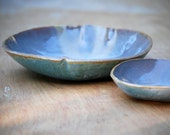 Ceramic serving bowls in blue topaz