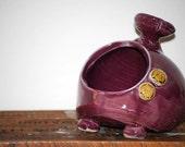 ceramic  salt pig or sponge rest in grape  purple with two little owls
