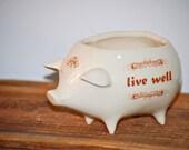 ceramic pig planter in shiny crackle  white