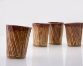 espresso cups  in golden brown set of four handless mugs - claylicious