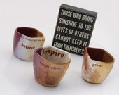 rustic mug in Autumn golden brown and purple bicycle laugh inspire