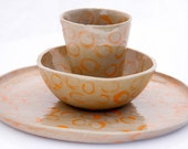 dinning setting hand build pottery orange for one
