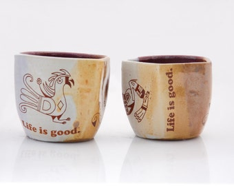 ON SALE ** Set of Two Ceramic Tumblers , Ceramic Cups, Pottery Cups