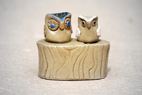 ceramic owl wedding cake toppers owl wedding cake toppers ooak handmade ceramic by claylicious 12489