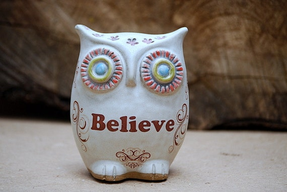 Owl Believe Rustic White Owl Handmade Pottery