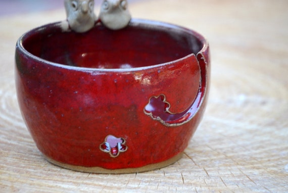 Yarn bowl owl in rich red Handmade ceramic