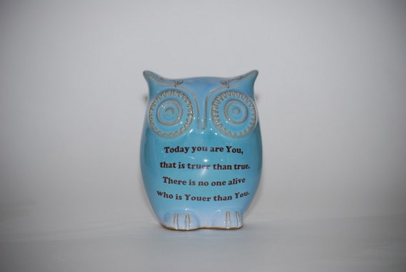 Owl  with Dr. Seuss  quote on robins egg blue   - handmade pottery.
