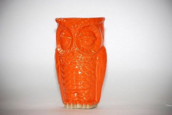 Tangerine Tango Owl Vase Planter Vintage Style Home Decor