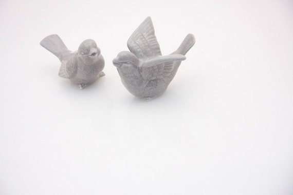 Bird Wedding  cake toppers in blue spotted gray