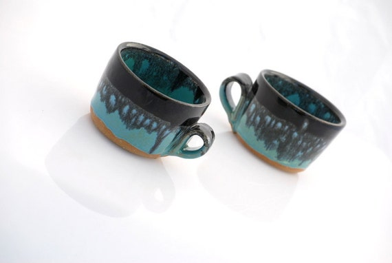 ceramic mugs in black and turquoise set of two