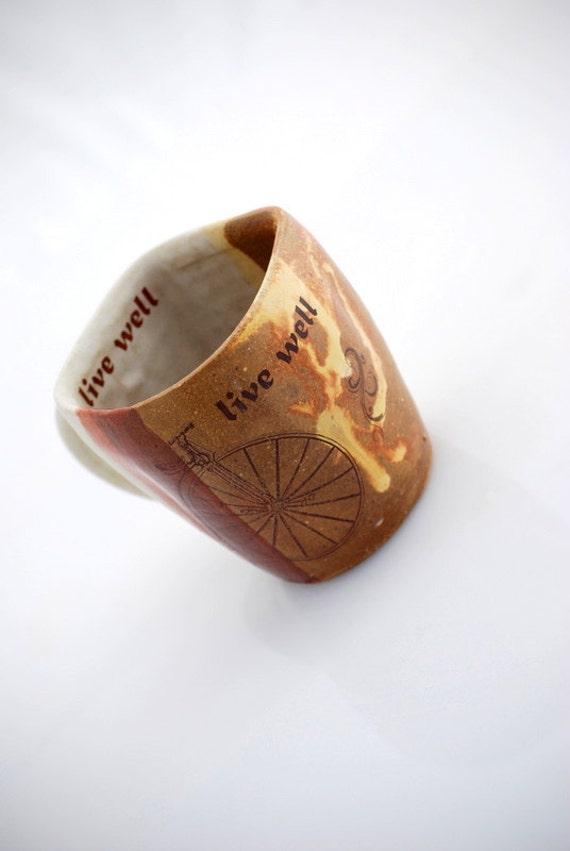 ceramic Mug wheel thrown cup in rustic golden brown vintage bicycle