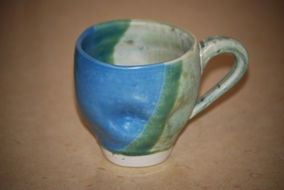 SPRING CLEANING SALE- blue and green of center  mug