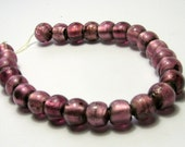 Plum Silver Foil Distressed Beads (10mm) - Vintage Beads