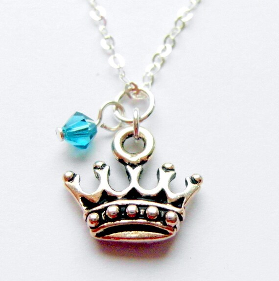 Crown necklace - Crown pendant - Birthday gift idea - Princess necklace - Bohemian jewelry - sterling silver chain Swarovski crystal - UK