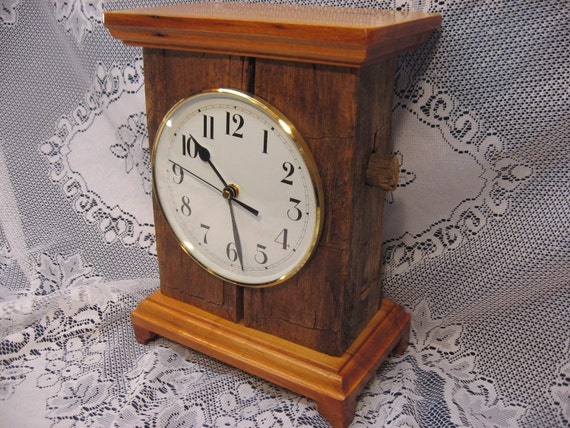 1830's hand hewn wormy chestnut mantle clock