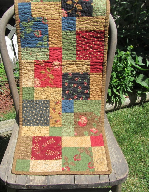 Reversible Moda Quilted Table Runner- Looking Back by Brannock and Patek