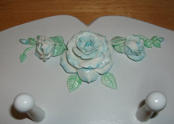 Teal and Aqua Shabby Chic Furniture Accent of Handmade Roses - three pieces