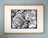 Screenprint of tree paper-cut design