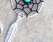 DREAM CATCHER Earrings Silver with Black dream web and Turquoise