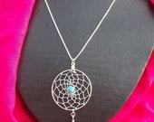 "DREAM IN TURQUOISE Dream catcher pendant w/ 20"" sterling silver chain"