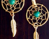 Gold Dream catcher earrings with blue-green Turquoise