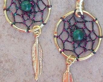 SPIRIT Pink, Green and Gold Dreamcatcher earrings