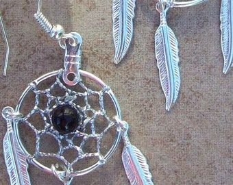 Silver & Black Dream catcher earrings with onyx and three feathers -smaller version