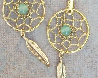 DREAM CATCHER  Earrings with Aventurine, gold dangle dreamcatcher earrings, dream catcher earrings, dae feather earrings, gold earrings