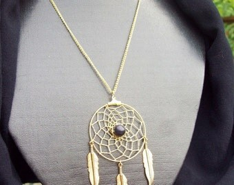 GOLDSTONE and GOLD FEATHERS   Dream catcher Necklace with Goldstone