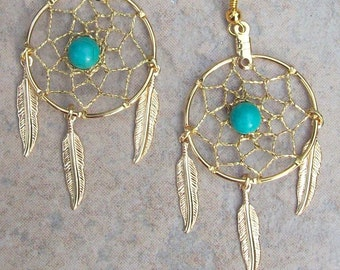 "DREAM CATCHER Earrings with Gold, Turquoise and three feathers 1"" Dream web"