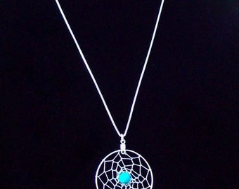 """DREAM IN TURQUOISE Dream catcher pendant with 24""""  long sterling silver chain"""