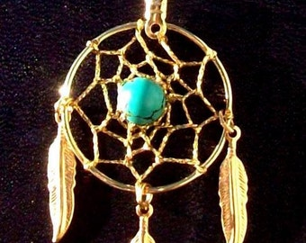 Dream catcher necklace in gold with turquoise and 1-inch dream web & three feathers