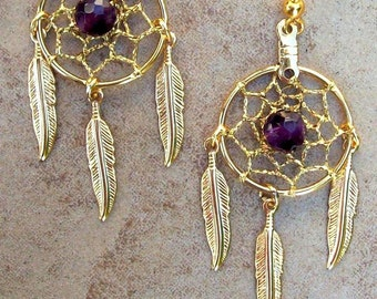 Dream catcher earrings gold with amethyst AMETHYST DREAMS ll dreamcatcher earrings, gold dreamcatcher earrings, amethyst dream catcher