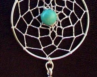 """Dream catcher necklace in Sterling silver with Turquoise & 18"""" chain Dream in Turquoise Large pendant"""