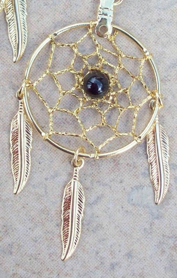 ECLIPSE II  Gold Dream catcher earrings with black onyx