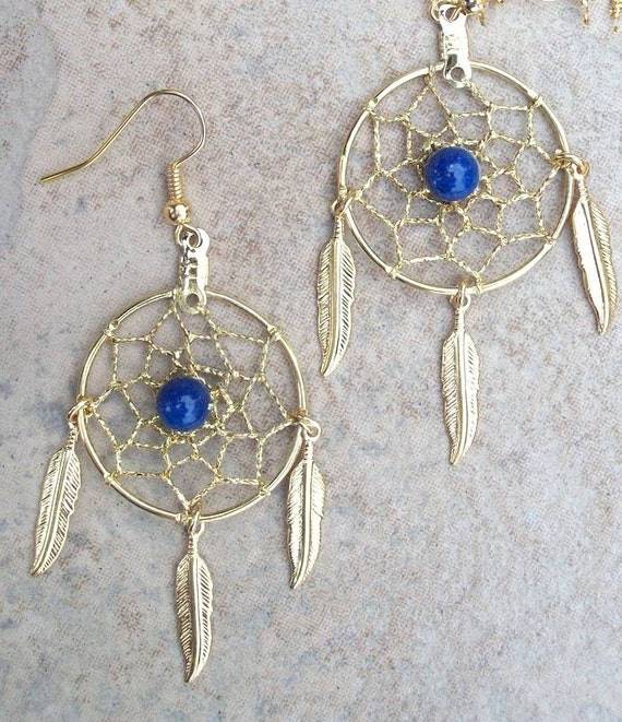 Custom for April  Gold Dream catchers with Lapis- SMALLER  version