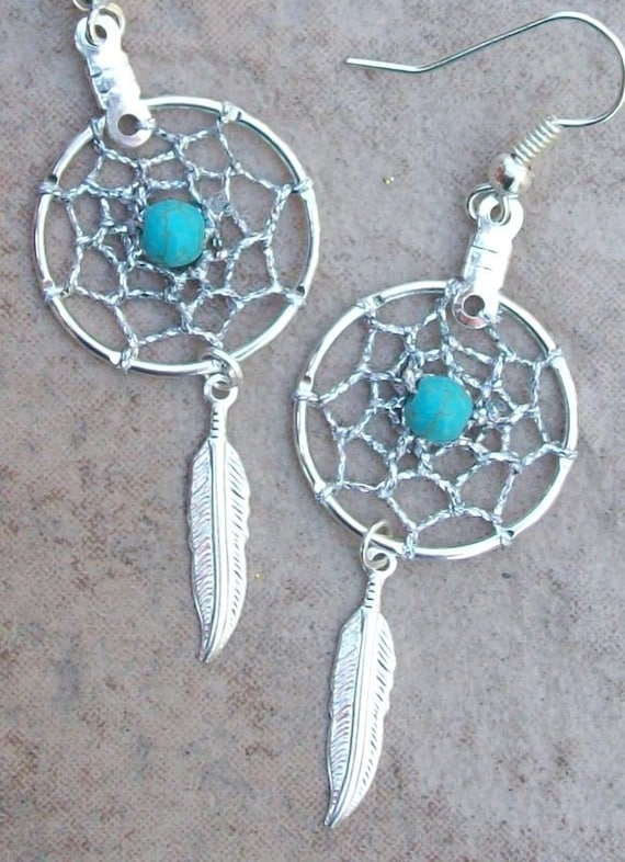 DREAM CATCHER Earrings Silver with Turquoise