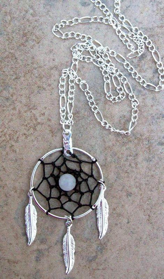 LOVE STONE DREAMCATCHER  Necklace in silver with black and rose quartz