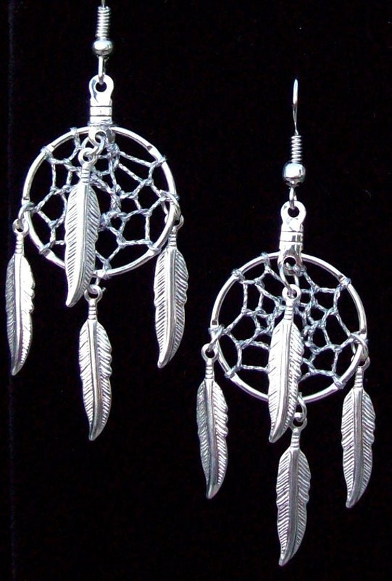 FOUR FEATHERS Silver dream catcher earrings - smaller size