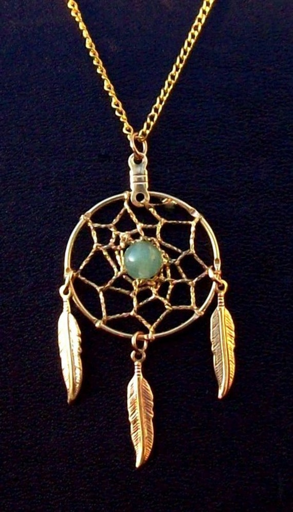 DREAMIN in GOLD and GREEN  Adventurine Dream catcher necklace