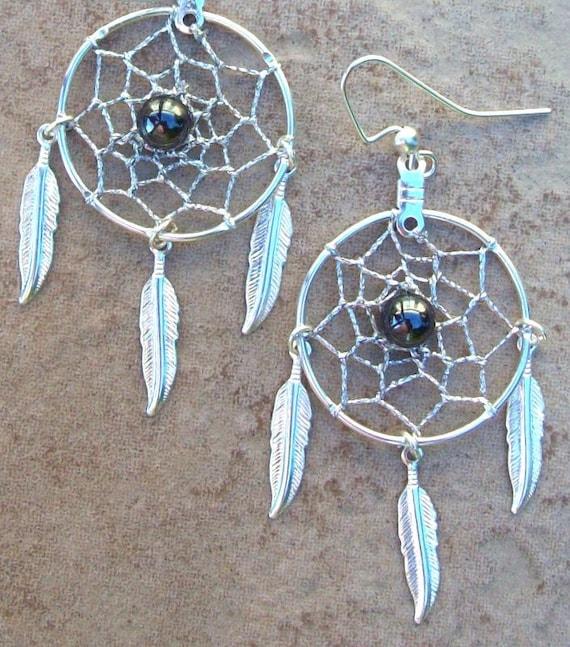 "DREAM CATCHER Earrings with hematite, 1"" web"