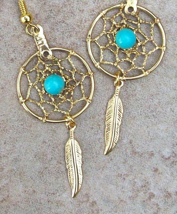 Gold & Turquoise dream catcher earrings - Sun and Sky