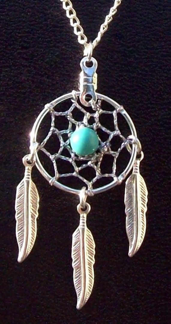 BLUE SKY ll -Dream catcher necklace with Turquoise